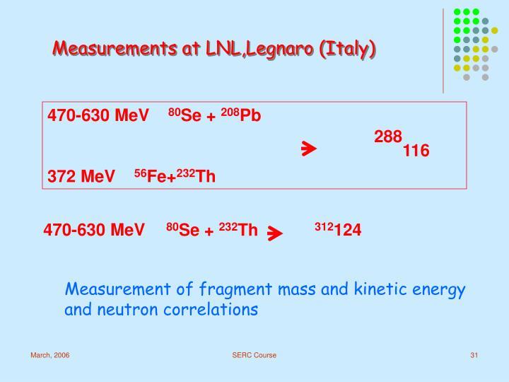 Measurements at LNL,Legnaro (Italy)