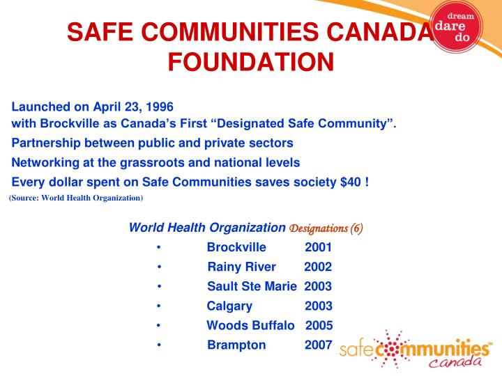 SAFE COMMUNITIES CANADA  FOUNDATION