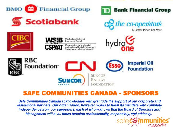 SAFE COMMUNITIES CANADA - SPONSORS