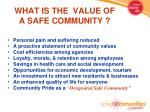 what is the value of a safe community