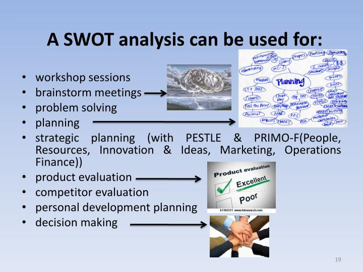 A SWOT analysis can be used for: