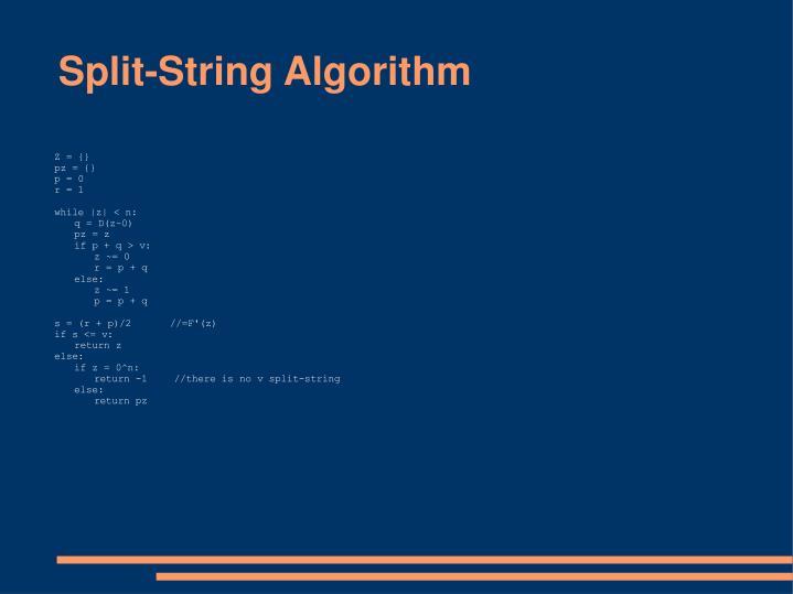 Split-String Algorithm