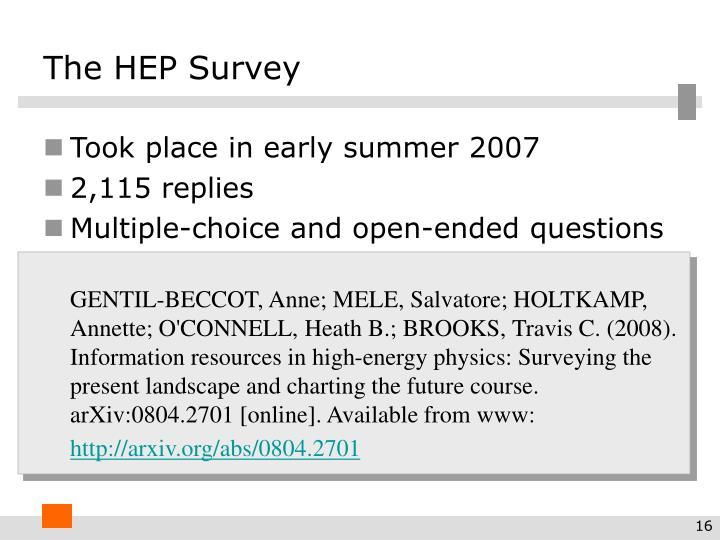 The HEP Survey