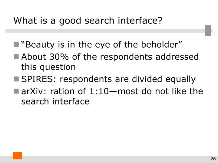 What is a good search interface?
