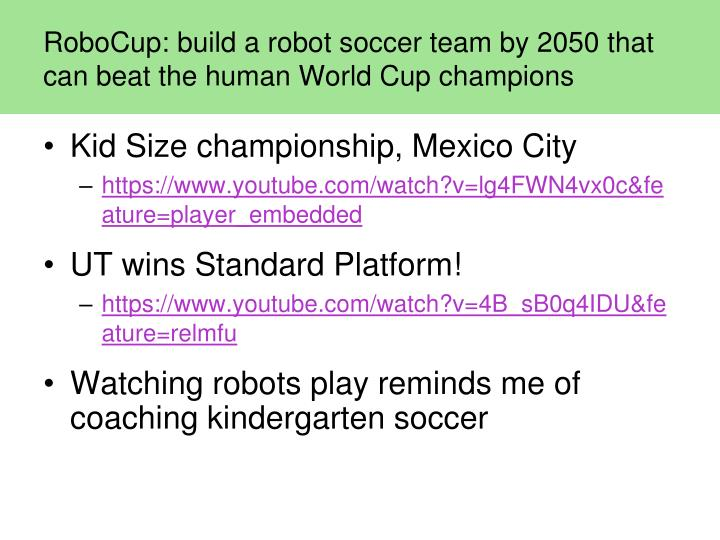 RoboCup: build a robot soccer team by 2050 that can beat the human World Cup champions
