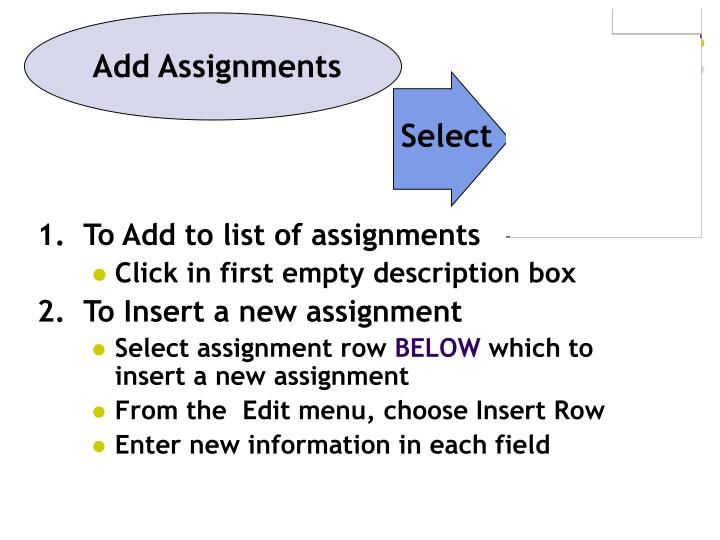 Add Assignments