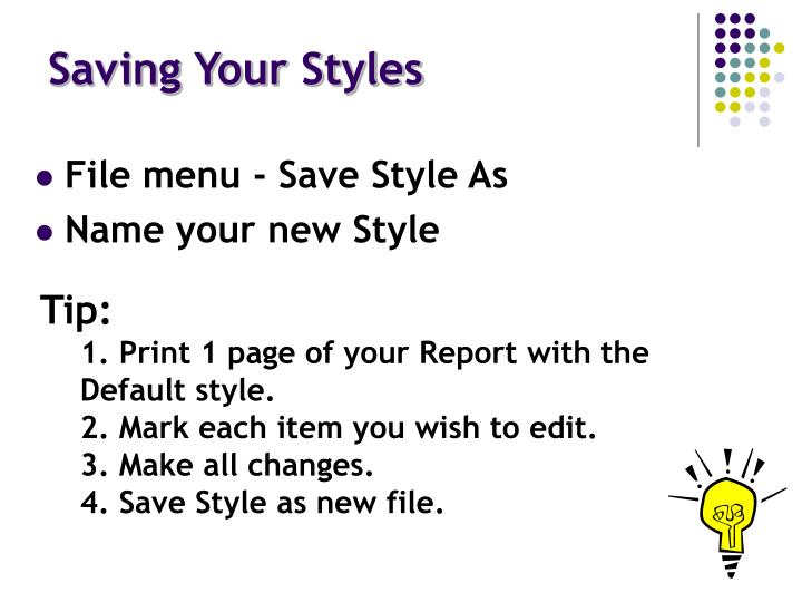 Saving Your Styles
