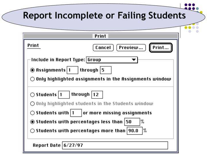 Report Incomplete or Failing Students