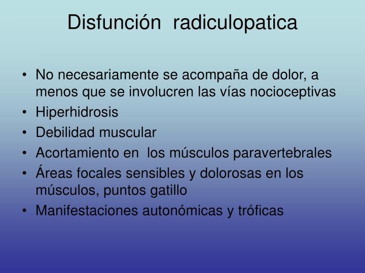 Disfunción  radiculopatica