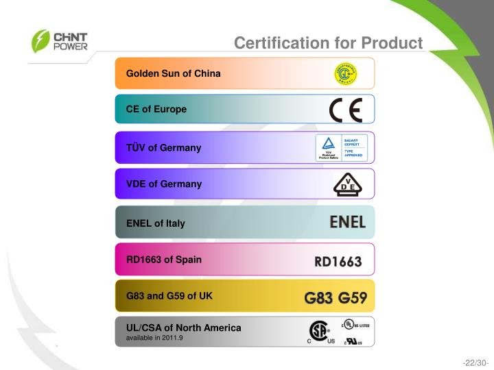Certification for Product