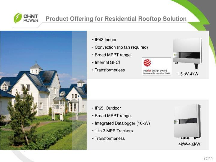 Product Offering for Residential Rooftop Solution