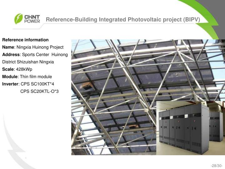 Reference-Building Integrated Photovoltaic project (BIPV)