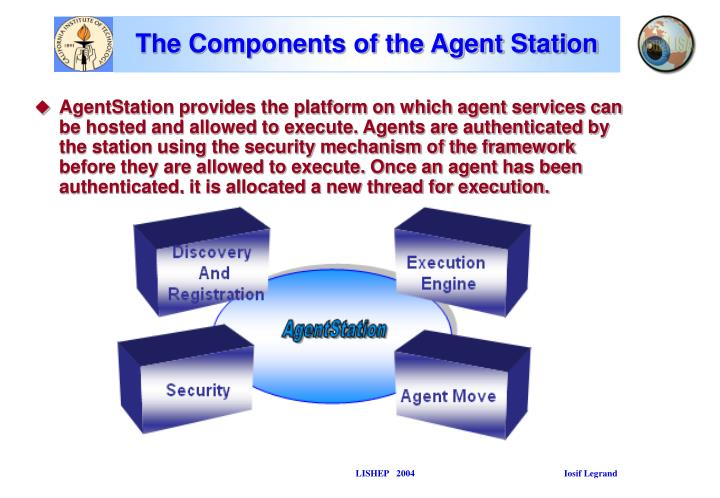 AgentStation provides the platform on which agent services can be hosted and allowed to execute. Agents are authenticated by the station using the security mechanism of the framework before they are allowed to execute. Once an agent has been authenticated, it is allocated a new thread for execution.