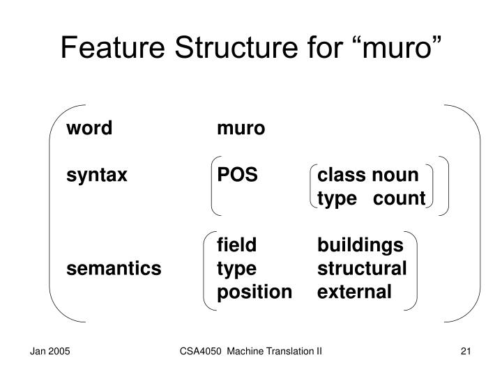 "Feature Structure for ""muro"""