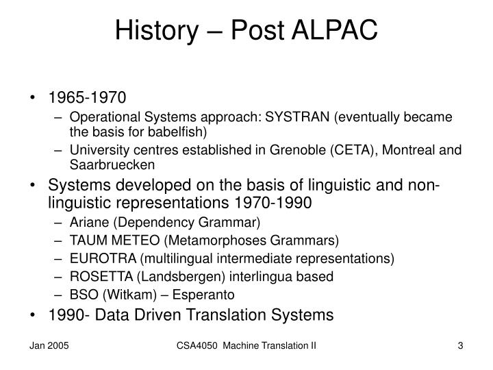 History – Post ALPAC