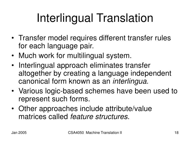 Interlingual Translation