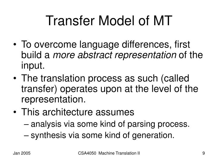 Transfer Model of MT