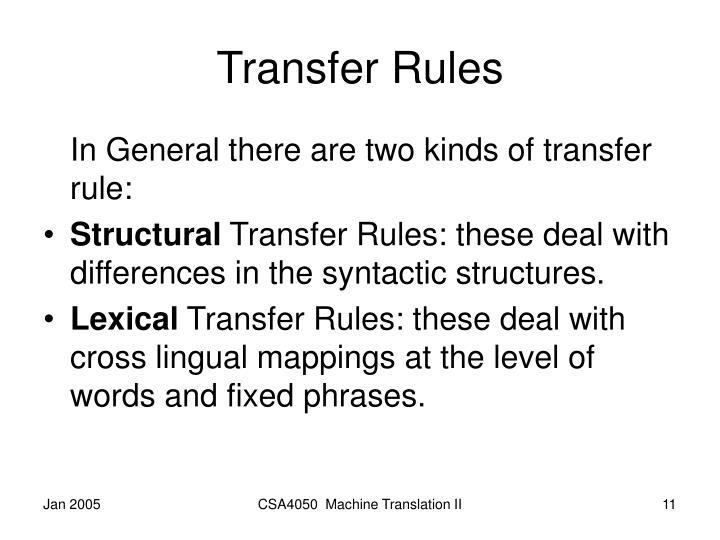 Transfer Rules
