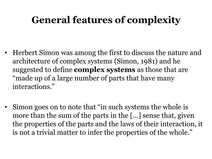 General features of complexity