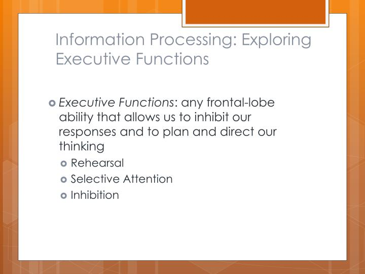Information Processing: Exploring Executive Functions