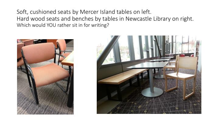 Soft, cushioned seats by Mercer Island tables on left.