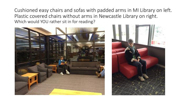 Cushioned easy chairs and sofas with padded arms in MI Library on left.