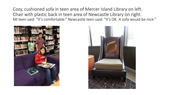 Cozy, cushioned sofa in teen area of Mercer Island Library on left.
