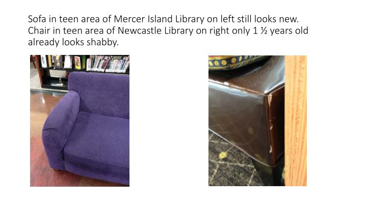 Sofa in teen area of Mercer Island Library on left still looks new.