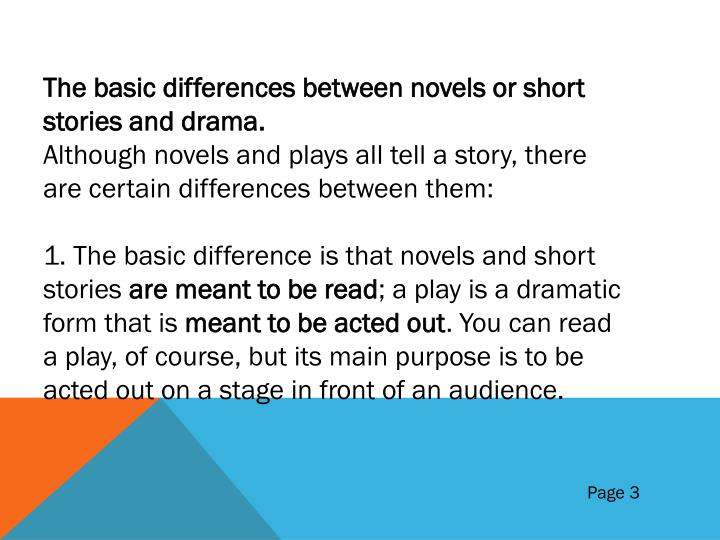 The basic differences between novels or short stories and drama.