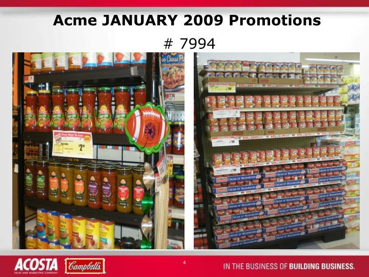 Acme JANUARY 2009 Promotions
