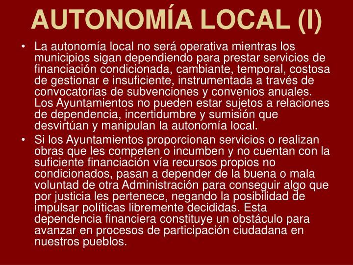 AUTONOMÍA LOCAL (I)