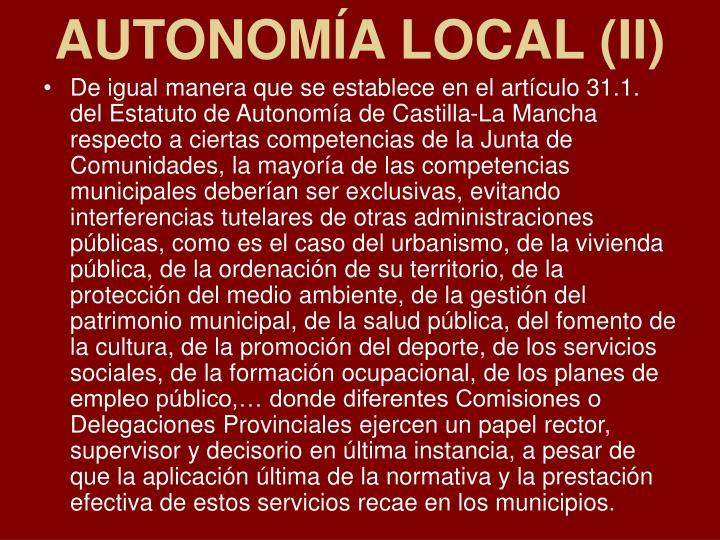 AUTONOMÍA LOCAL (II)