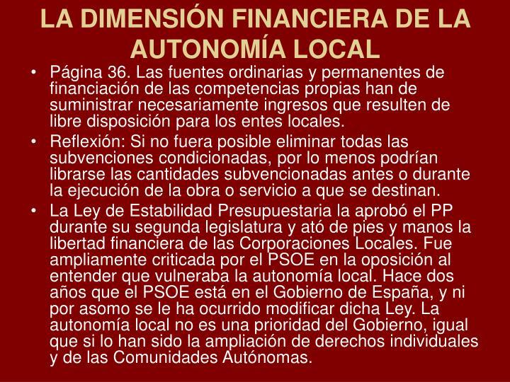 LA DIMENSIÓN FINANCIERA DE LA AUTONOMÍA LOCAL