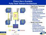 chiaro has a scalable fully fault tolerant architecture