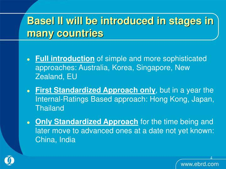 Basel II will be introduced in stages in many countries