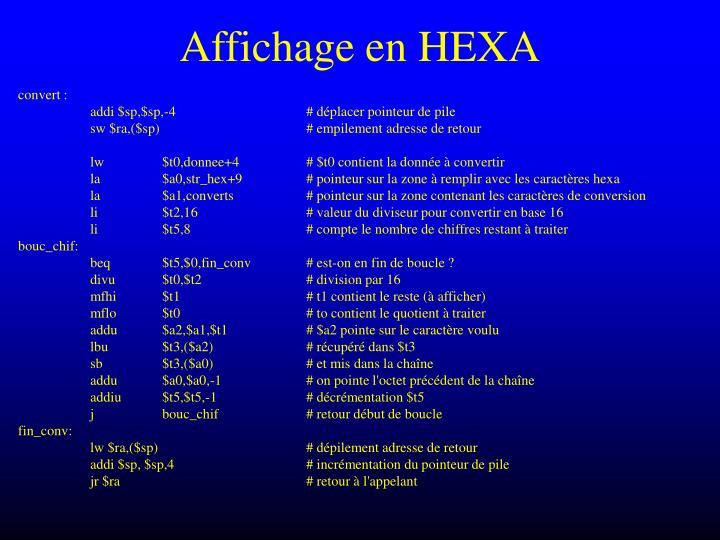 Affichage en HEXA