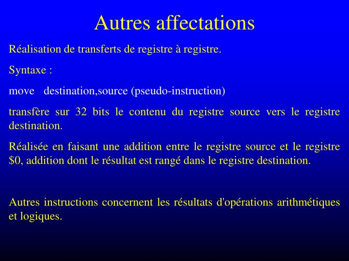 Autres affectations