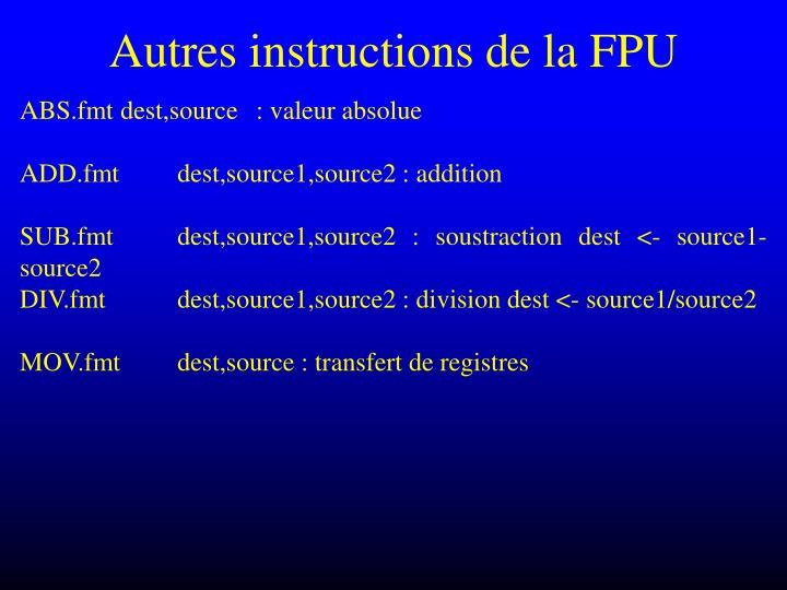 Autres instructions de la FPU