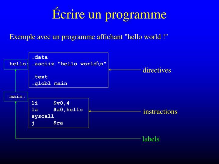 Écrire un programme