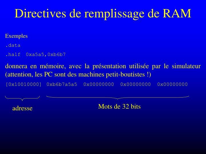 Directives de remplissage de RAM