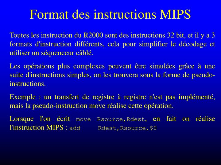 Format des instructions MIPS