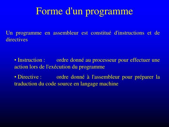 Forme d'un programme