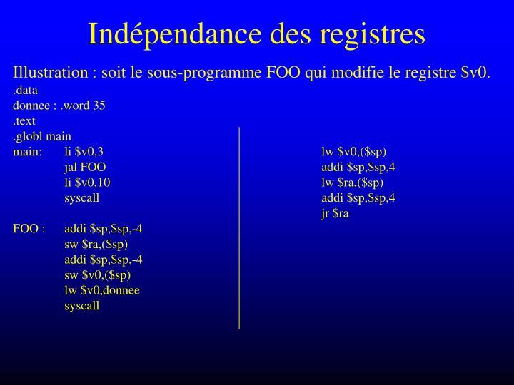 Indépendance des registres