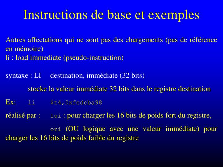 Instructions de base et exemples