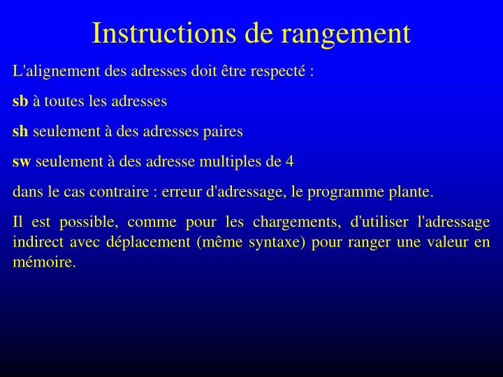 Instructions de rangement