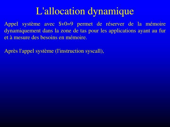 L'allocation dynamique