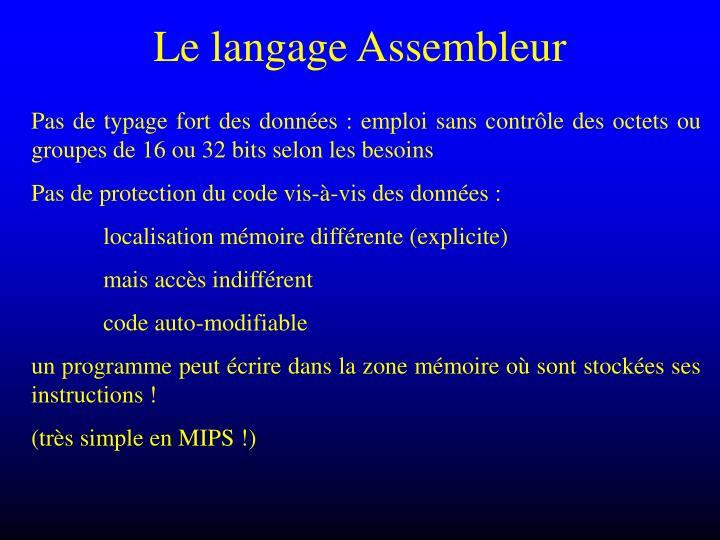 Le langage Assembleur