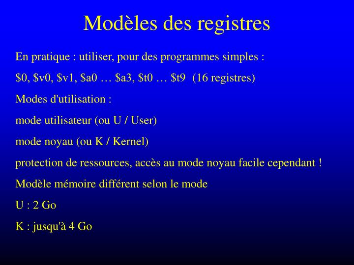 Modèles des registres