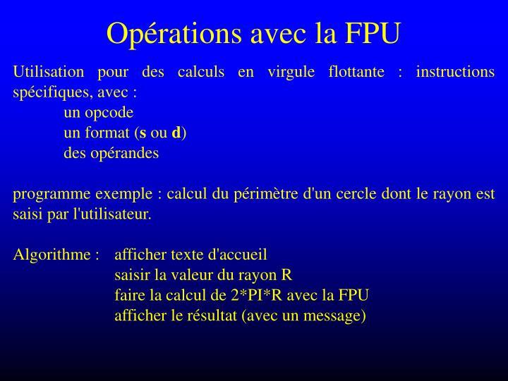 Opérations avec la FPU