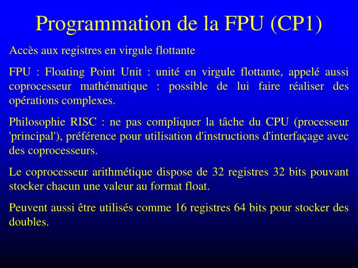 Programmation de la FPU (CP1)